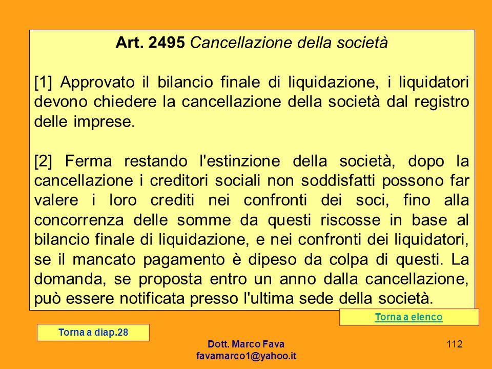Art. 2495 Cancellazione della società
