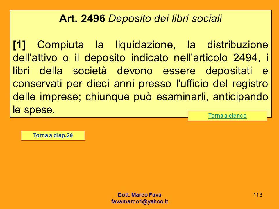 Art. 2496 Deposito dei libri sociali