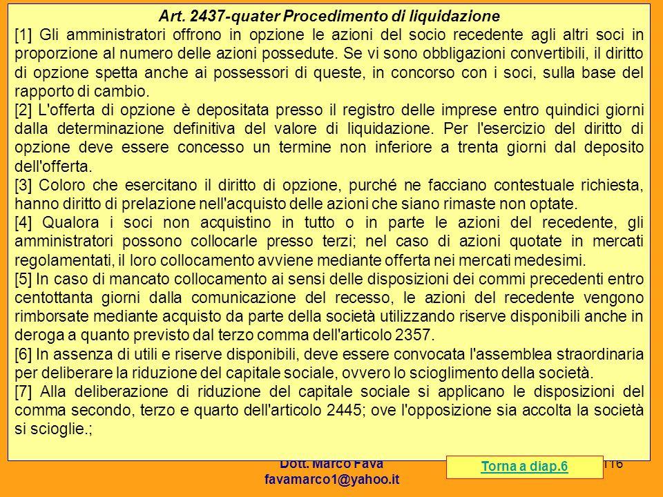 Art. 2437-quater Procedimento di liquidazione