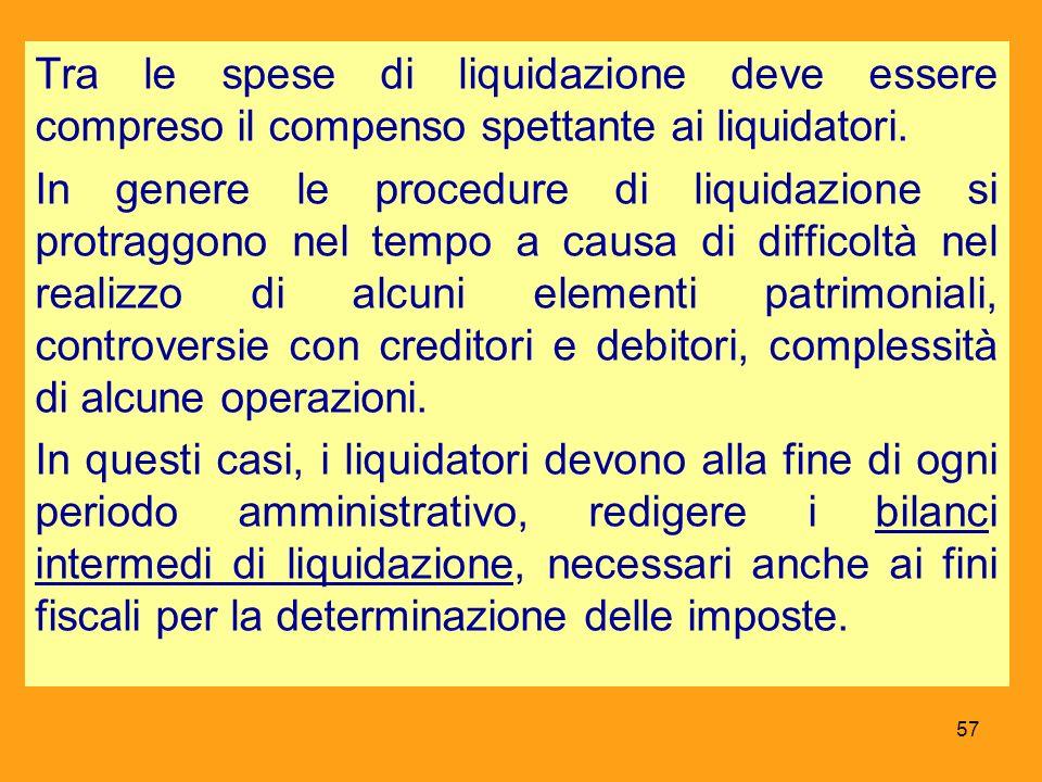 Tra le spese di liquidazione deve essere compreso il compenso spettante ai liquidatori.