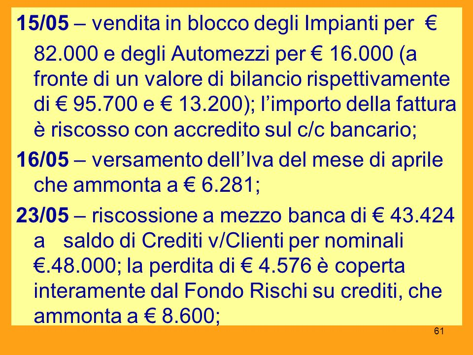 15/05 – vendita in blocco degli Impianti per €