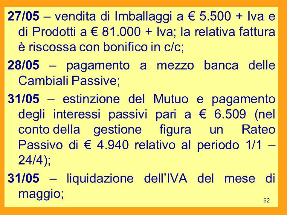 27/05 – vendita di Imballaggi a € 5. 500 + Iva e di Prodotti a € 81