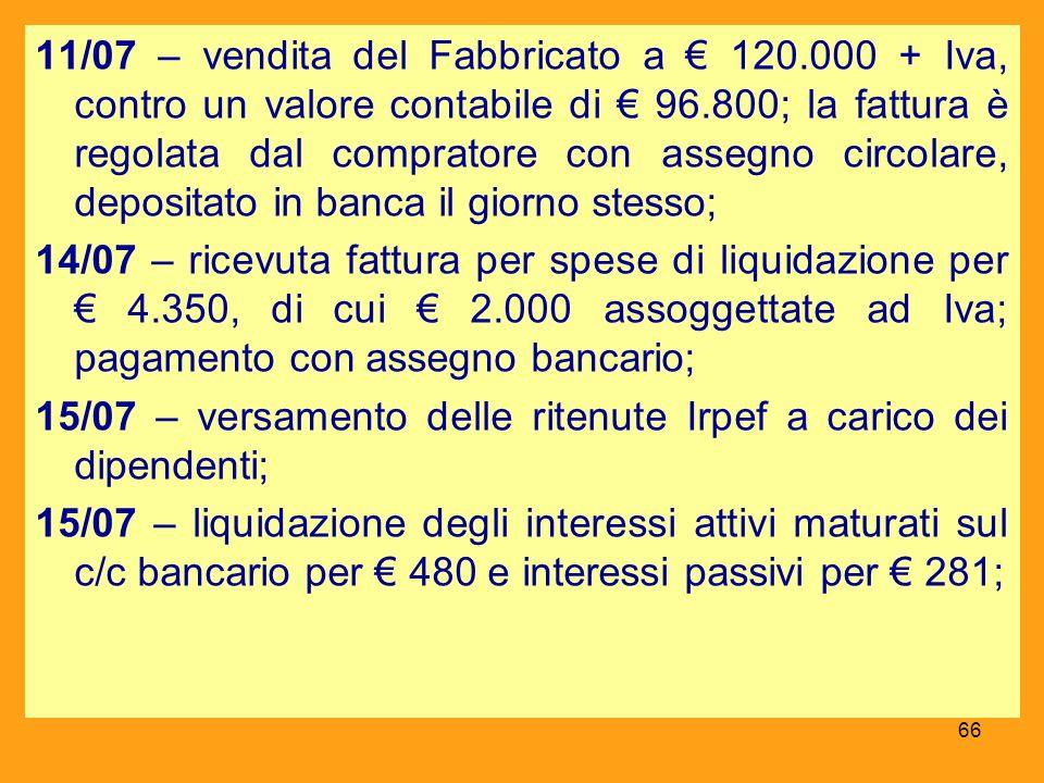 11/07 – vendita del Fabbricato a € 120