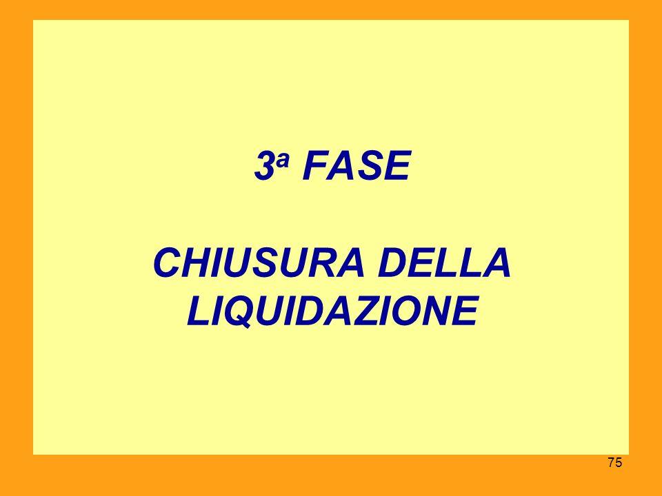 3a FASE CHIUSURA DELLA LIQUIDAZIONE