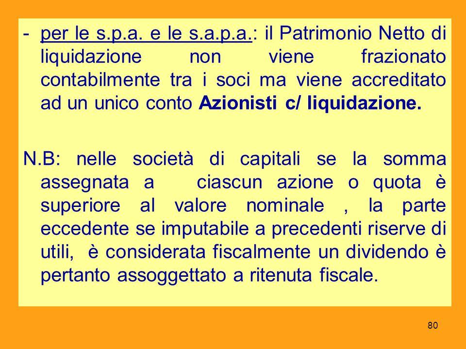 per le s.p.a. e le s.a.p.a.: il Patrimonio Netto di liquidazione non viene frazionato contabilmente tra i soci ma viene accreditato ad un unico conto Azionisti c/ liquidazione.
