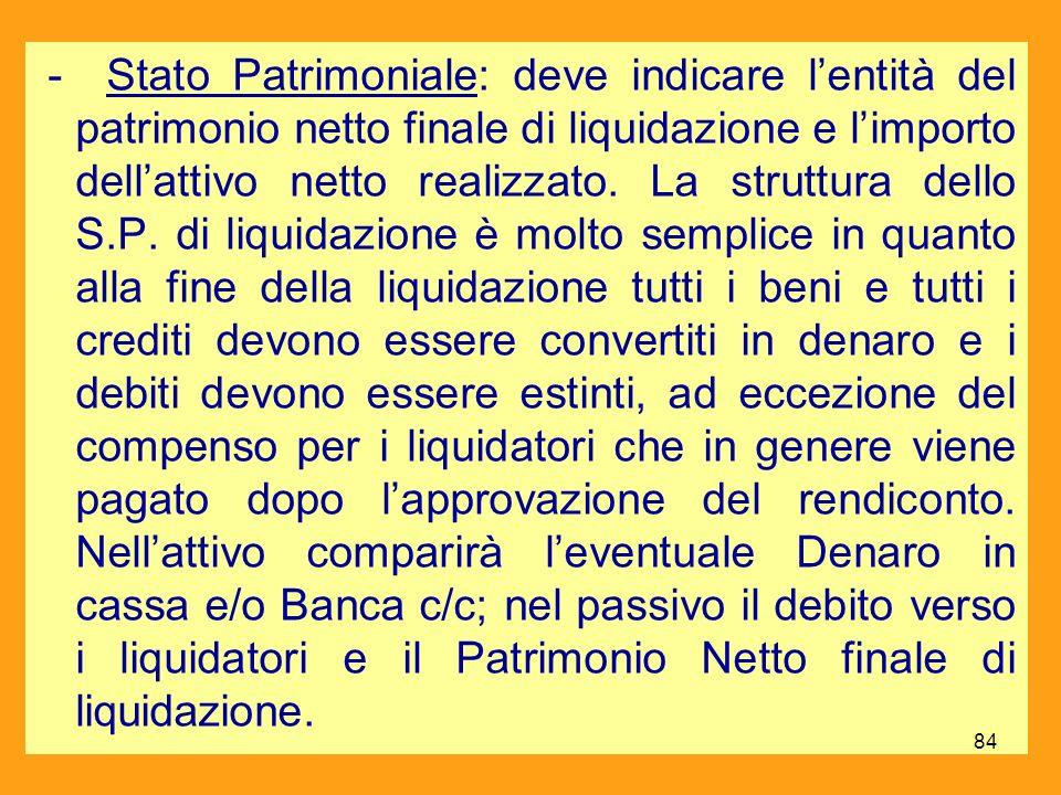 - Stato Patrimoniale: deve indicare l'entità del patrimonio netto finale di liquidazione e l'importo dell'attivo netto realizzato.