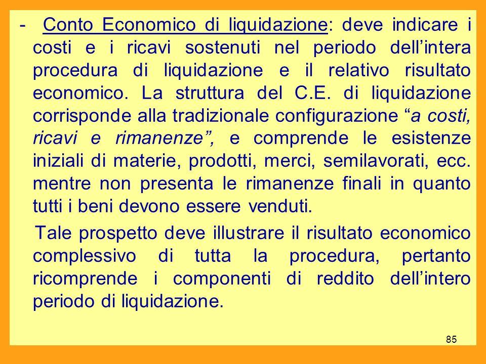 - Conto Economico di liquidazione: deve indicare i costi e i ricavi sostenuti nel periodo dell'intera procedura di liquidazione e il relativo risultato economico.