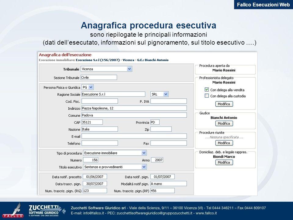 Anagrafica procedura esecutiva