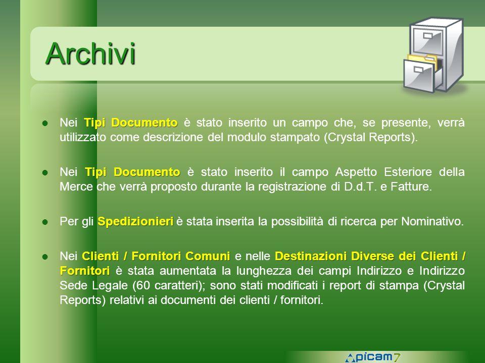 Archivi Nei Tipi Documento è stato inserito un campo che, se presente, verrà utilizzato come descrizione del modulo stampato (Crystal Reports).