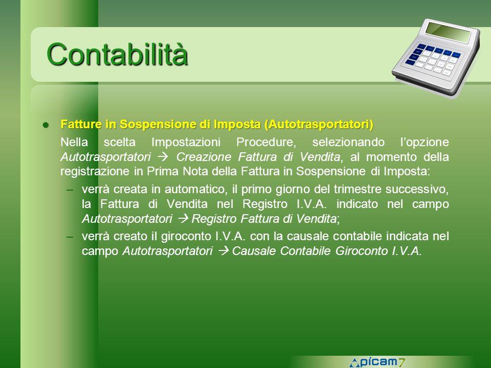 Contabilità Fatture in Sospensione di Imposta (Autotrasportatori)