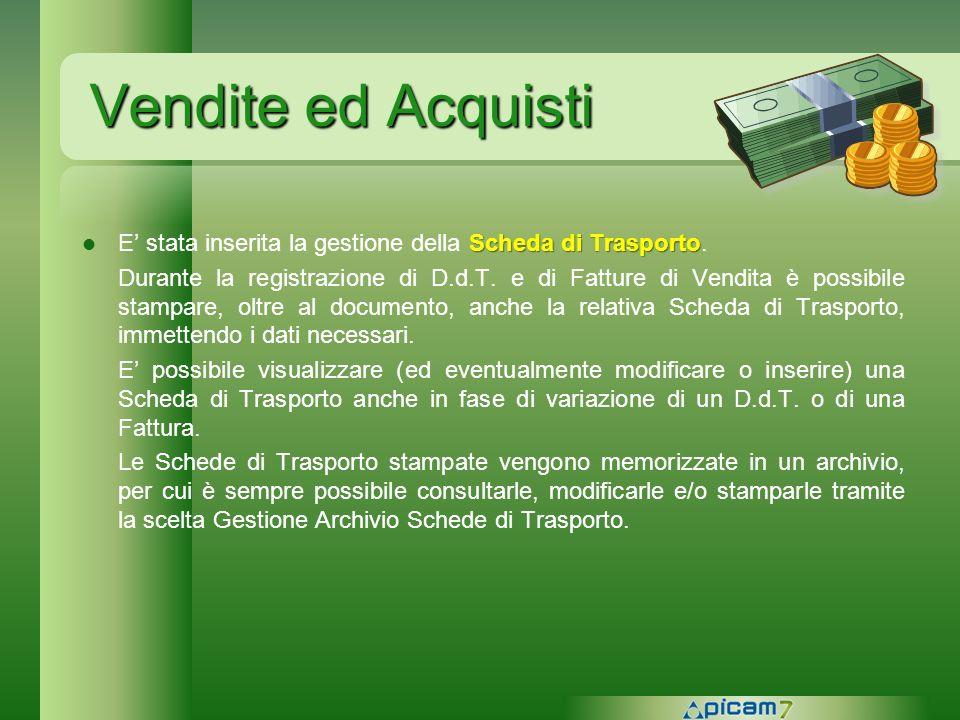 Vendite ed Acquisti E' stata inserita la gestione della Scheda di Trasporto.
