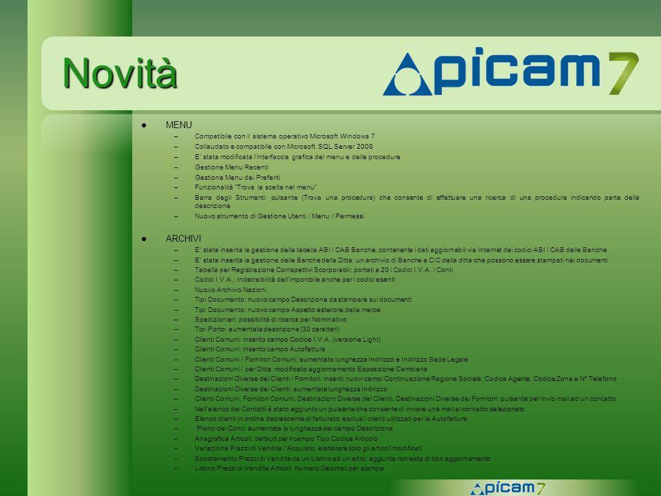 NovitàMENU. Compatibile con il sistema operativo Microsoft Windows 7. Collaudato e compatibile con Microsoft SQL Server 2008.