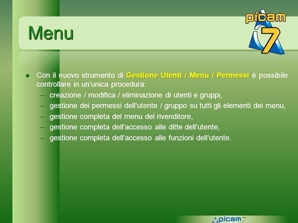 Menu Con il nuovo strumento di Gestione Utenti / Menu / Permessi è possibile controllare in un'unica procedura: