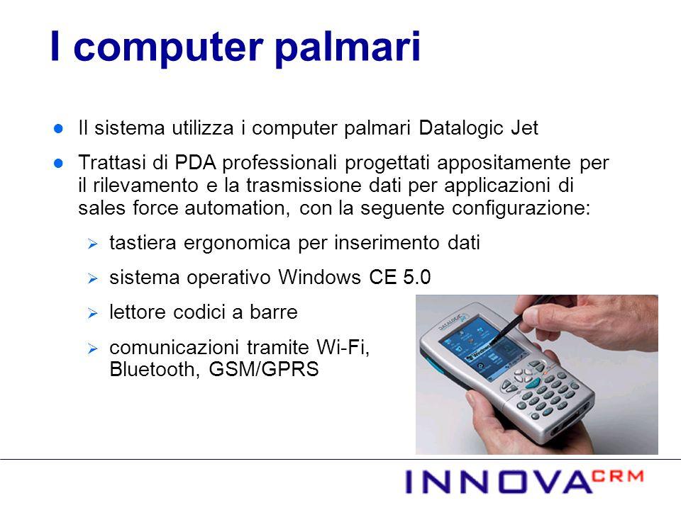 I computer palmari Il sistema utilizza i computer palmari Datalogic Jet.