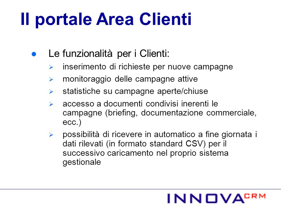 Il portale Area Clienti