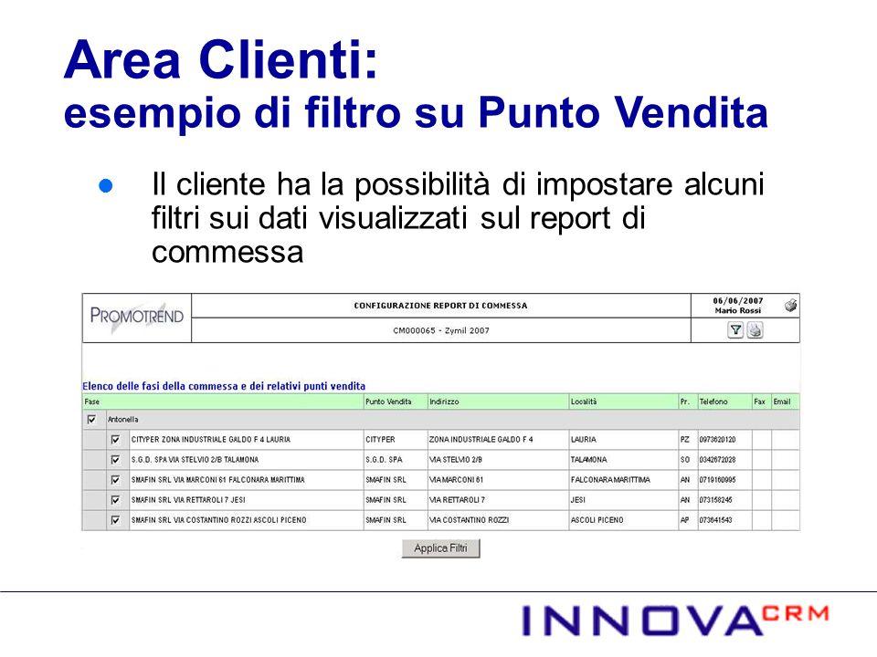 Area Clienti: esempio di filtro su Punto Vendita
