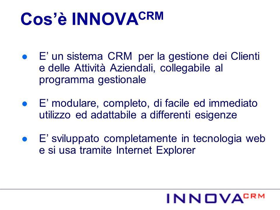 Cos'è INNOVACRM E' un sistema CRM per la gestione dei Clienti e delle Attività Aziendali, collegabile al programma gestionale.