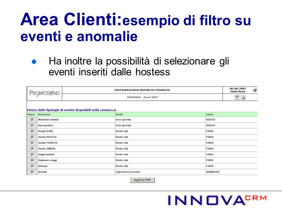 Area Clienti:esempio di filtro su eventi e anomalie