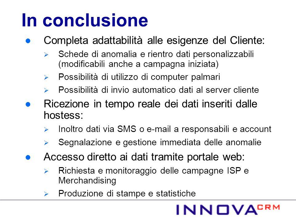 In conclusione Completa adattabilità alle esigenze del Cliente:
