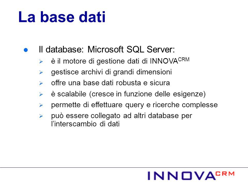 La base dati Il database: Microsoft SQL Server: