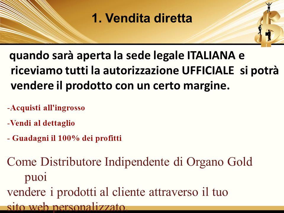 Come Distributore Indipendente di Organo Gold puoi