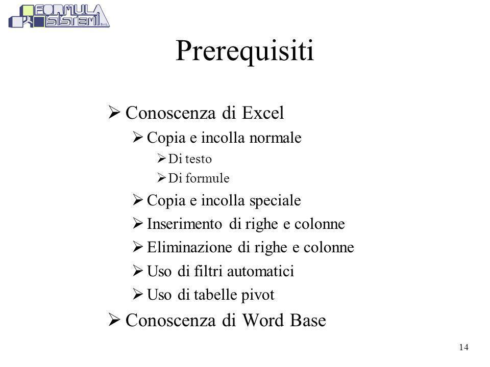 Prerequisiti Conoscenza di Excel Conoscenza di Word Base