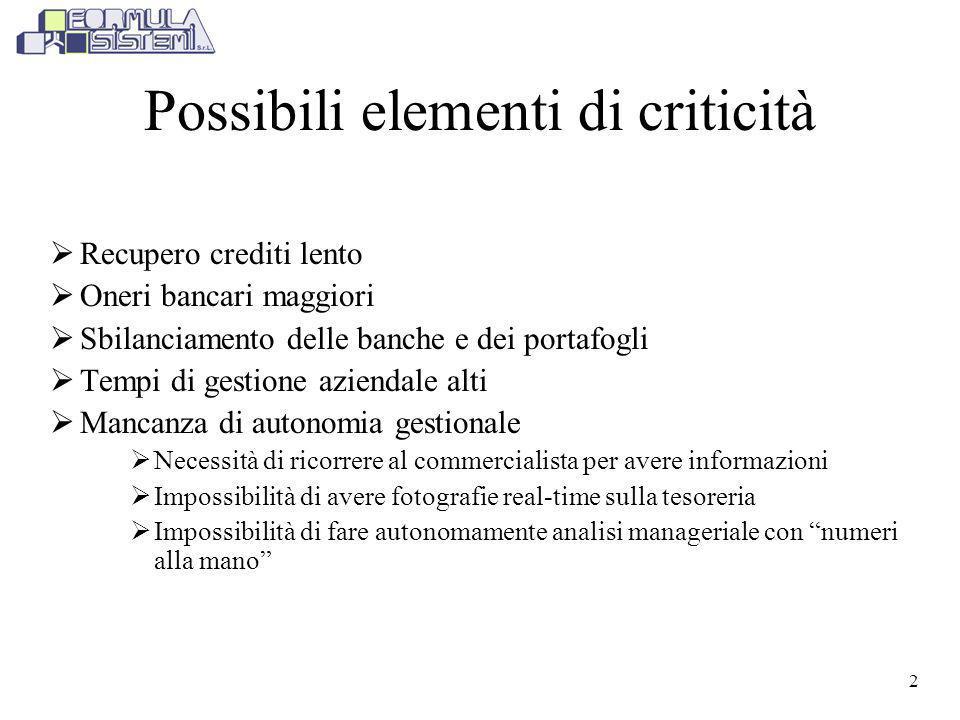 Possibili elementi di criticità