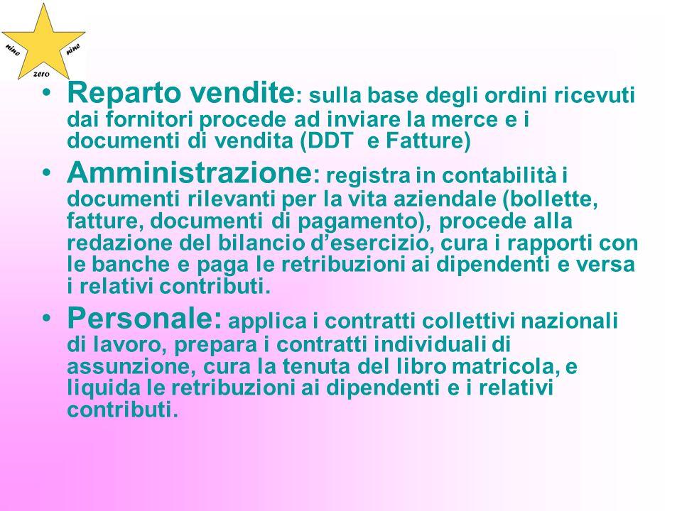 Reparto vendite: sulla base degli ordini ricevuti dai fornitori procede ad inviare la merce e i documenti di vendita (DDT e Fatture)