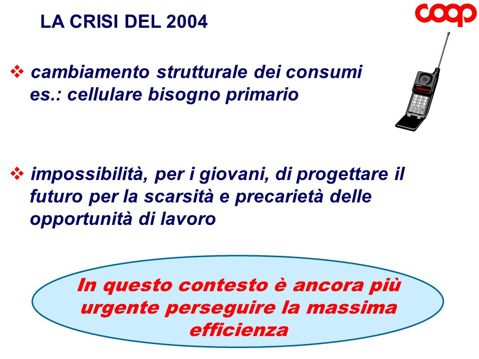LA CRISI DEL 2004 cambiamento strutturale dei consumi. es.: cellulare bisogno primario. impossibilità, per i giovani, di progettare il.