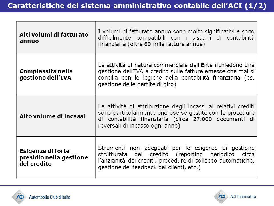 Caratteristiche del sistema amministrativo contabile dell'ACI (1/2)