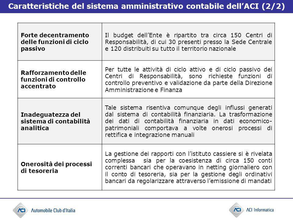 Caratteristiche del sistema amministrativo contabile dell'ACI (2/2)