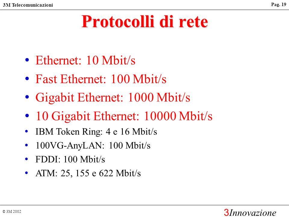 Protocolli di rete Ethernet: 10 Mbit/s Fast Ethernet: 100 Mbit/s