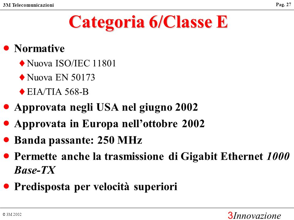 Categoria 6/Classe E Normative Approvata negli USA nel giugno 2002