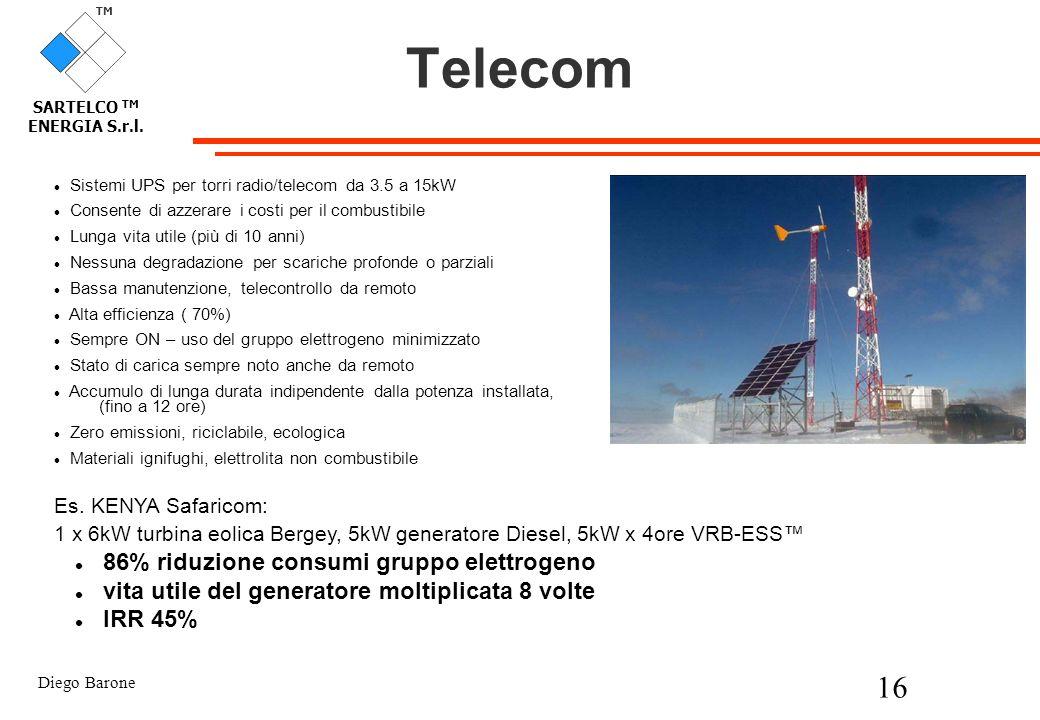 Telecom 86% riduzione consumi gruppo elettrogeno