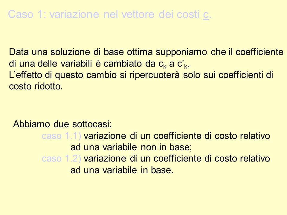 Caso 1: variazione nel vettore dei costi c.