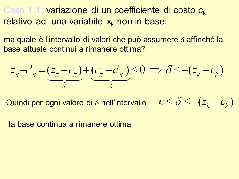 Caso 1. 1) variazione di un coefficiente di costo ck relativo ad