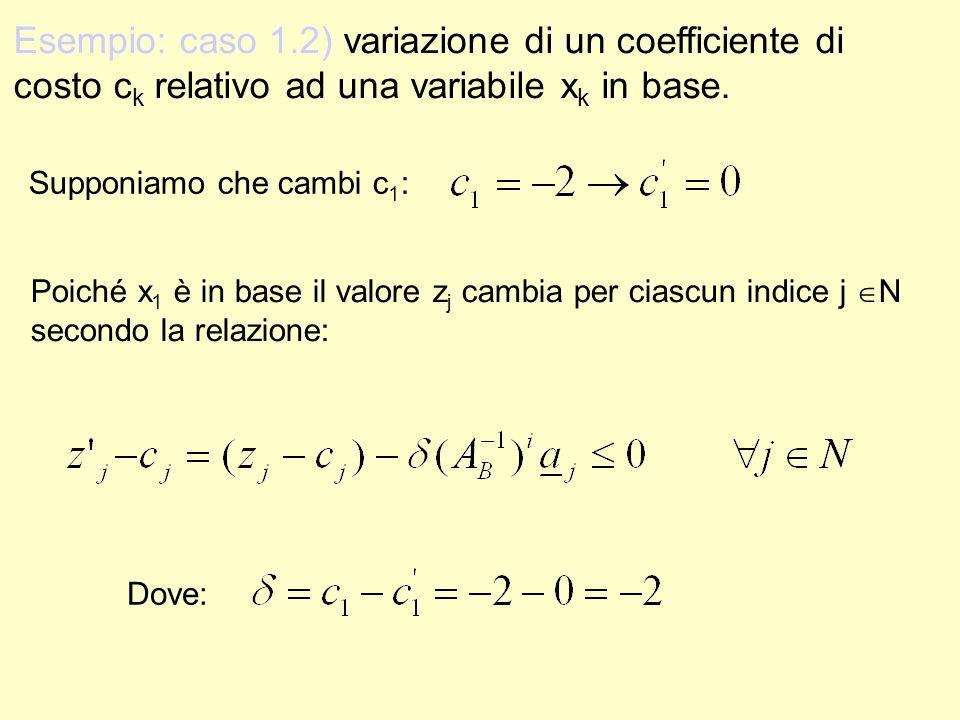 Esempio: caso 1.2) variazione di un coefficiente di costo ck relativo ad una variabile xk in base.