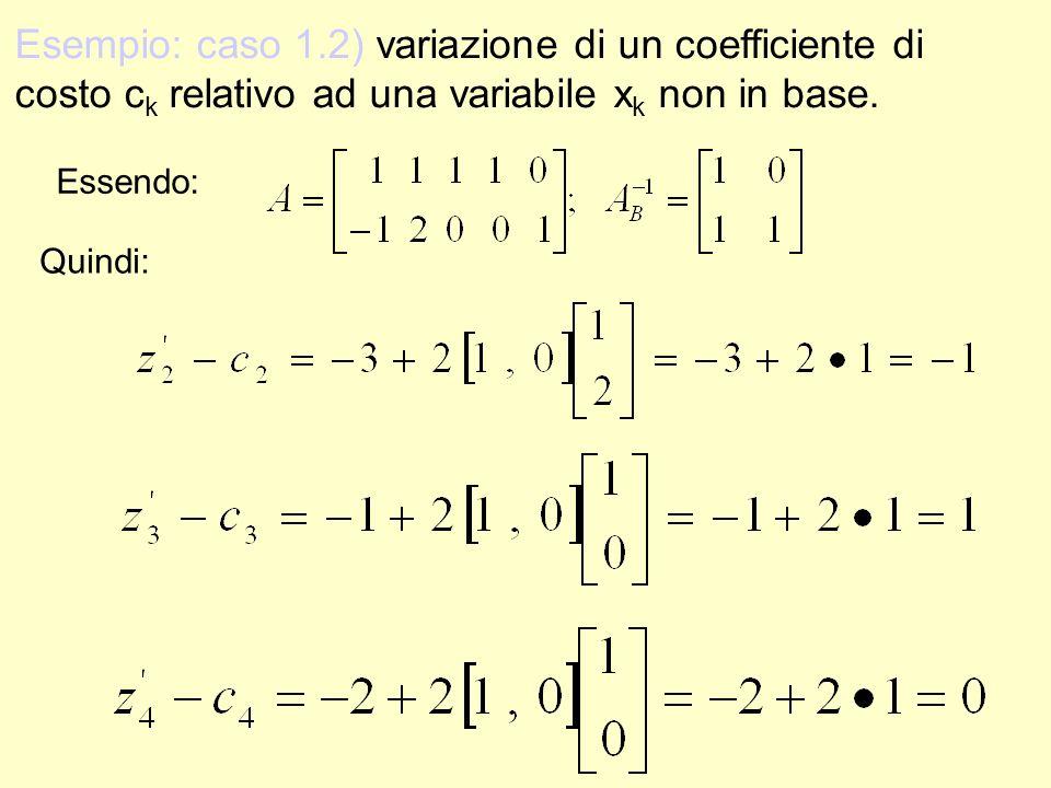 Esempio: caso 1.2) variazione di un coefficiente di costo ck relativo ad una variabile xk non in base.