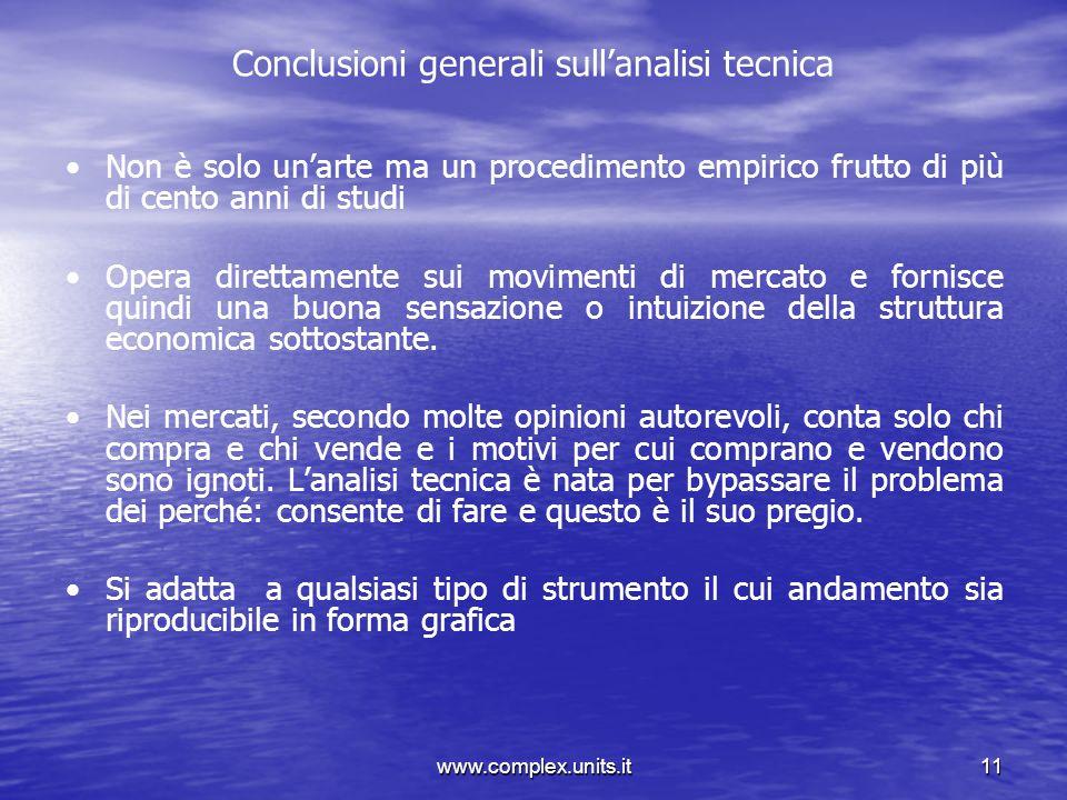 Conclusioni generali sull'analisi tecnica