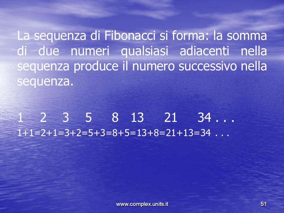 La sequenza di Fibonacci si forma: la somma di due numeri qualsiasi adiacenti nella sequenza produce il numero successivo nella sequenza.
