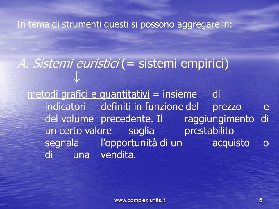 Sistemi euristici (= sistemi empirici) 