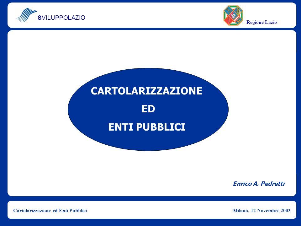 CARTOLARIZZAZIONE ED ENTI PUBBLICI