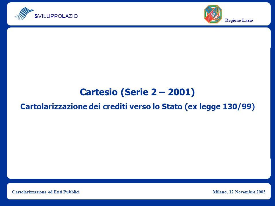 Cartolarizzazione dei crediti verso lo Stato (ex legge 130/99)