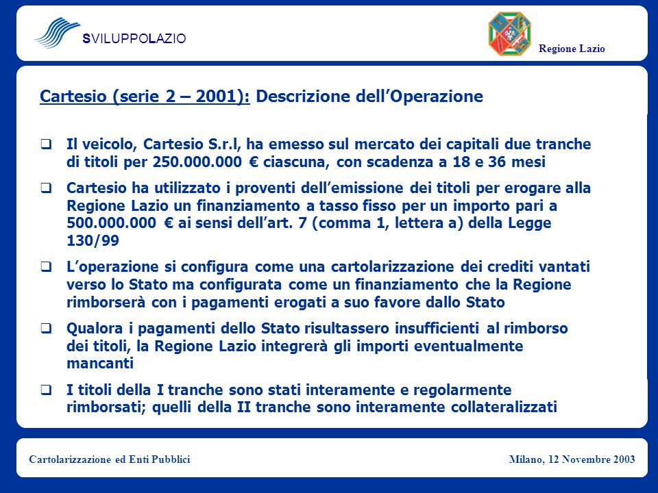 Cartesio (serie 2 – 2001): Descrizione dell'Operazione