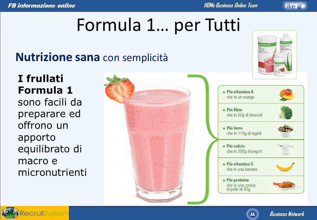 Formula 1… per Tutti Nutrizione sana con semplicità I frullati