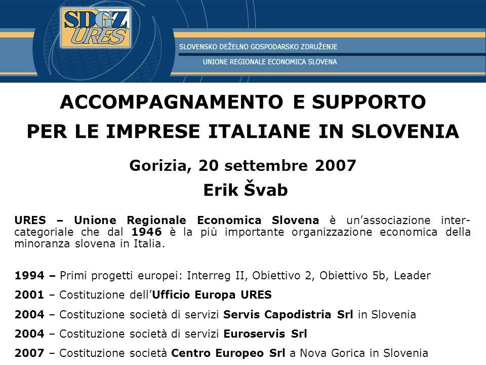 ACCOMPAGNAMENTO E SUPPORTO PER LE IMPRESE ITALIANE IN SLOVENIA Gorizia, 20 settembre 2007 Erik Švab