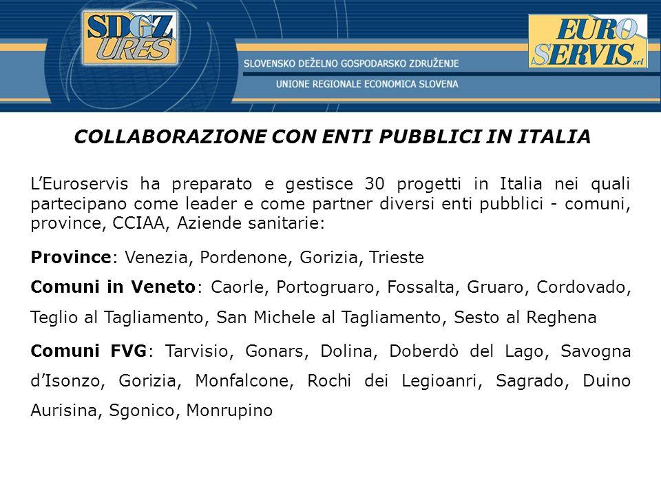 COLLABORAZIONE CON ENTI PUBBLICI IN ITALIA