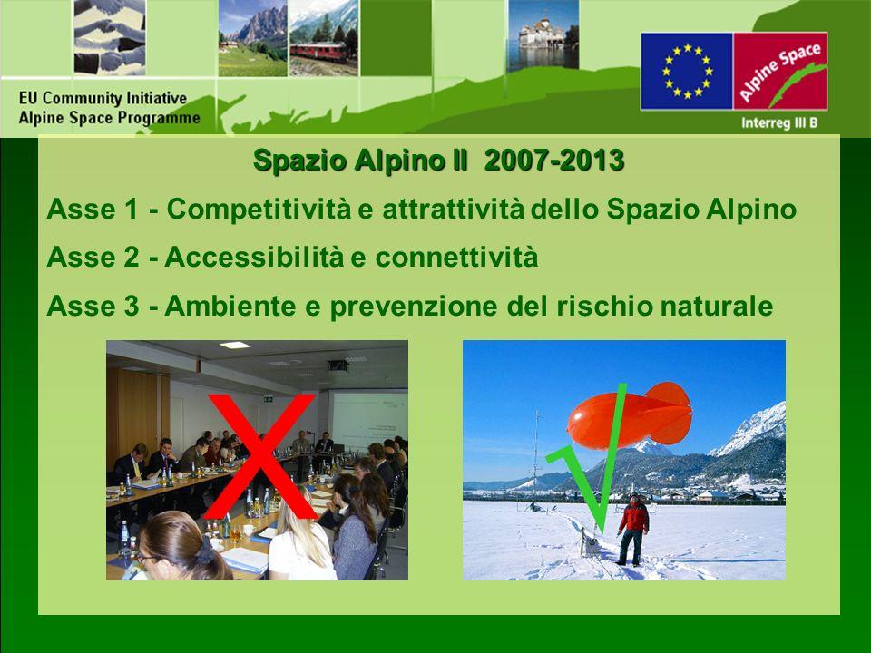 Spazio Alpino II 2007-2013 Asse 1 - Competitività e attrattività dello Spazio Alpino. Asse 2 - Accessibilità e connettività.
