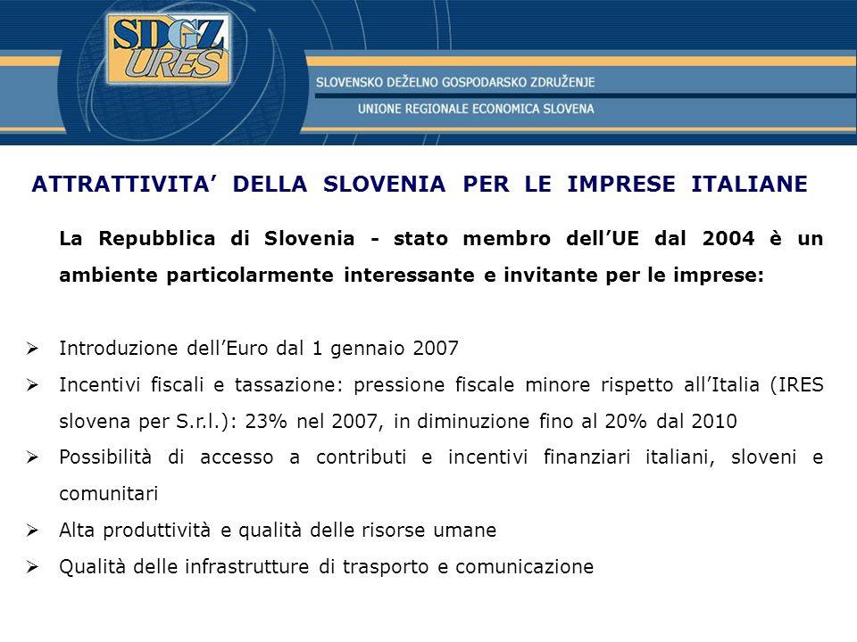 ATTRATTIVITA' DELLA SLOVENIA PER LE IMPRESE ITALIANE