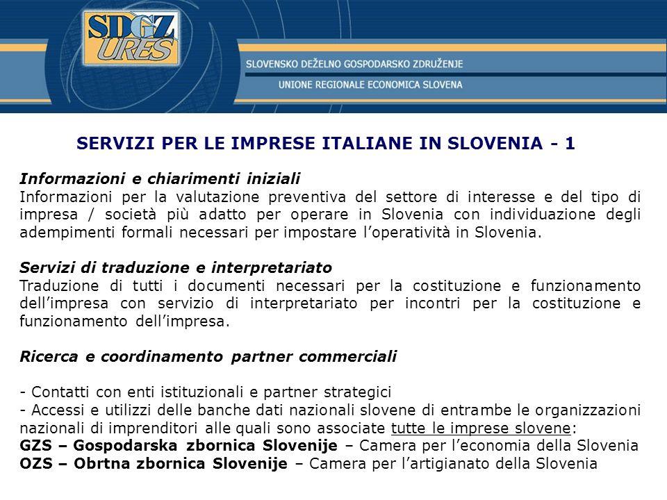 SERVIZI PER LE IMPRESE ITALIANE IN SLOVENIA - 1